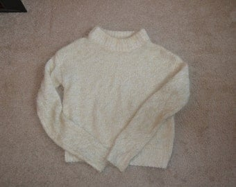 Silence and Noise Cream Half Turtle Neck Fuzzy Cropped Sweater