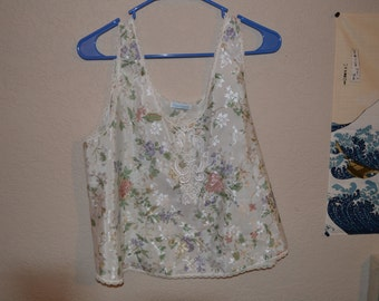 Floral Silk Nightie Top