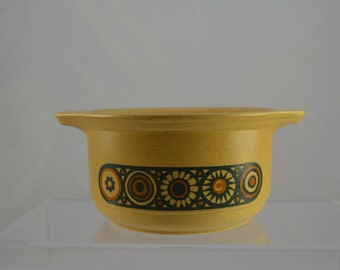 Kiln craft 'Bacchus' two-handled soup bowl, classic 1970s look, brown and mustard yellow