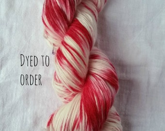 Candy Cane - Hand-Dyed / Hand-Painted Yarn - Superwash Merino Wool - Dyed To Order