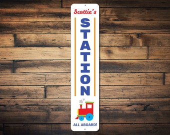 Station Vertical Sign, Personalized All Aboard Child Name Train Decor, Custom Kid Bedroom Train Lover Gift - Quality Aluminum ENS1002317