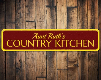 Country Kitchen Sign, Personalized Name Sign, Country Kitchen Decor, Metal  Cook Sign,