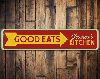 Good Eats Sign, Personalized Cook Name Kitchen Decor, Custom Arrow Food Creations This Way Metal Chef Sign - Quality Aluminum ENS1001703
