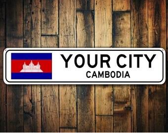 Cambodia Flag Sign, Cambodia Souvenir, Cambodia Gift, Country Souvenir, Metal City Sign, City Sign, City Souvenir - Quality Aluminum Sign