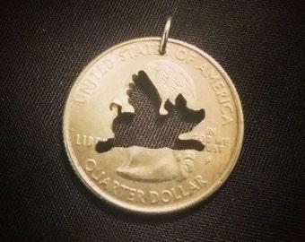 Flying Pig Quarter Pendant