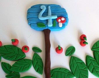 Woodland Forest Age Sign Fondant Cake Topper - Edible Age Wood grain Fairy Topper - First Birthday Fondant Age Cake Decor