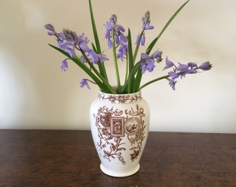 Vintage Staffordshire Transferware Brown and White Vase