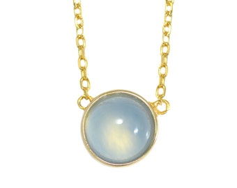 Gold Vermeil  Blue Chalcedony Transluscent Gemstone Coin Necklace in Sterling Silver 16'' - 18'' - Simple and Delicate
