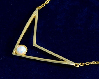 Gold Vermeil White Opal Chevron Geometric Necklace in Sterling Silver 16'' - 18''