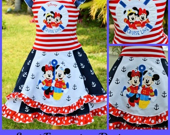 Mickey Minnie Cruse Dress Custom size 2 to 8