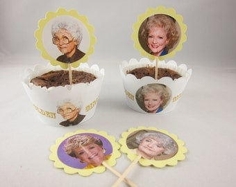 Set of The Golden Girls Cupcake wrappers and cupcake topper, Rose, Blanche,Sophia and Dorothy