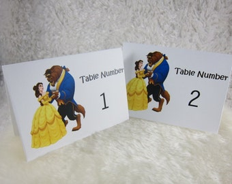 Beauty and the Beast Birthday Table Numbers Cards Set 1-10