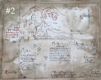 "Handmade Hobbit Map of Lonely Mountain  11x14"""