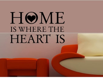 Home is Where the Heart Is Vinyl Decal Wall Art Decor Sticker Free US Shipping