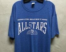 vintage t shirt, 80s, basketball, 4th District, All Stars, blue shirt, soft , thin, jumper, tee shirt, distressed, paper thin blue t