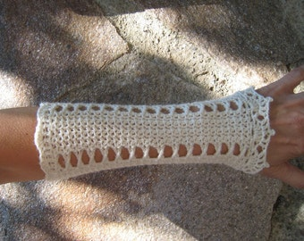 Wrists warmers manchettes crocheted arms warmers knitted crochet wool lace steampunk victorian crochet wedding bridal cuffs
