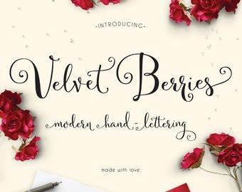Velvetberries Hand Lettered Calligraphy Script Font Download Commercial or Personal