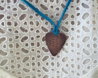 "I Plucking Love You - Antique Distressed Copper Guitar Pick Hand Stamped Necklace Natural Turquoise Leather Cord Adjustable 21"" -See Options"