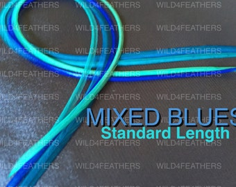 """4pc """"MixedBlues"""" Feathers+1pc FREE Classic Grizzly Feather Pack in Standard Lengths 7""""-9.5"""" or 19-24cm Long"""