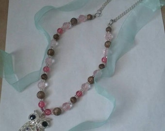 Glass beaded Owl necklace