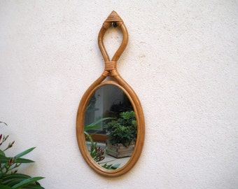 70s decor etsy for Miroir osier