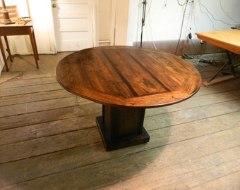 New Round Table with Pedestal base made from reclaimed wood