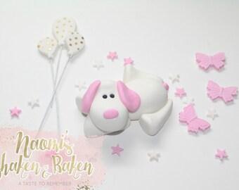 Edible Girl Plush Puppy Dog Balloon Fondant Cake Topper Set 7-9cm