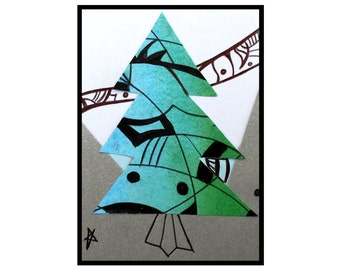 ACEO original pine Tree art ink drawing collage artwork green black silver artists trading card Glad Tidings Caerys Walsh