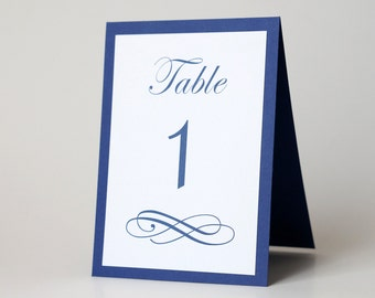 Navy Table Numbers - Wedding Table Decor - Calligraphy - Blue Tent Card - Rehearsal Dinner & Navy table numbers | Etsy