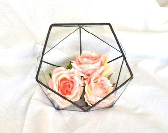 Open Icosahedron 3 sizes / Modern Wedding table Decor / Geometric Glass Terrarium / Stained Glass Terrarium / Handmade Glass Terrarium