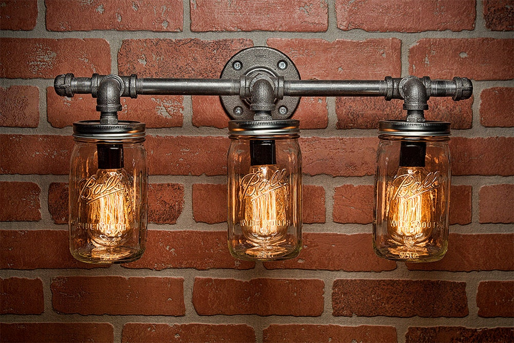 Mason jar light fixture industrial light light rustic Rustic bathroom vanity light fixtures