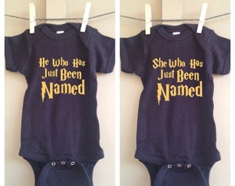 He Who Has Just Been Named, She Who Has Just Been Named, Infant Onesie, Potterheads, Scarheads, Wizkids