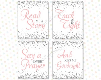 Read me a story tuck me in tight 8x10 Set of 4 (INSTANT DOWNLOAD) - Printable nursery art - Pink and silver nursery decor PS1