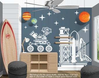 Blast Off NASA Space Shuttle Vinyl Wall Decal   Boy Girl Bedroom, Nursery,  Playroom