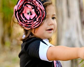 Pink and Black Singed Flower Headband
