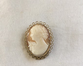 Antique 12k Gold Filled Real Shell Cameo Brooch and Pendant