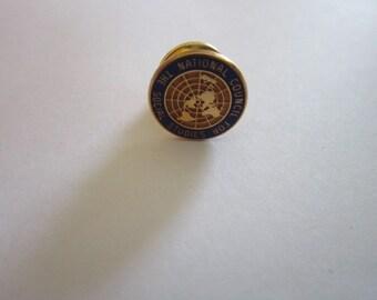 Vintage 10k Gold Filled and Enameled National Council for Social Studies Pinback