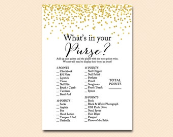 what's in your purse, purse game, bridal shower purse game, Gold Confetti Bridal Shower, Bachelorette, Wedding Shower BS46