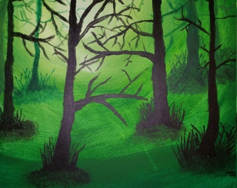Forest trees sunlight fog woods acrylic painting 16x20