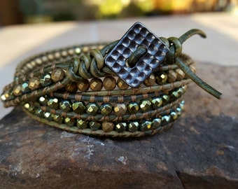 Green//Matte Gold Hematite //Leather 4 Wrap Bracelt