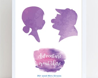 Disney Up Couple Water Colour Wedding or Anniversary Print