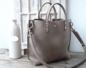 Leather bag, Leather bag grey, Leather bag women, small leather shopping bag, grey leather handbag, small leather shopper, Lou - mud grey!