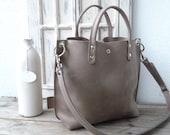 Leather bag, Leather bag grey, Leather bag women, small leather shopping bag, grey leather handbag, small leather shopper, Lou - mud grey!