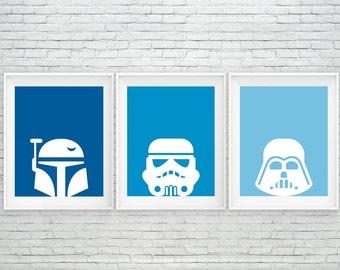 Star Wars print, Star Wars printable, Boba Fett, StormTrooper, Darth Vader, instant download, play room decor, darth vader, wall art decor
