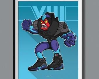 "Beasts in Sneaks - Air Jordan 8 VIII ""Aqua"" inspired art print. Sneaker Art"