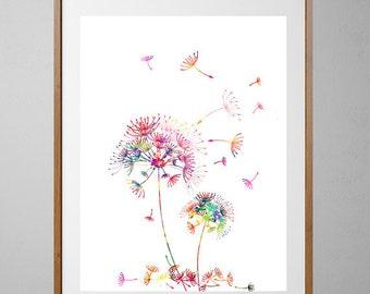 Printable Dandelions 2 Flowers Instant Download Dandelions digital poster vertical dandelions downloadable print digital illustration