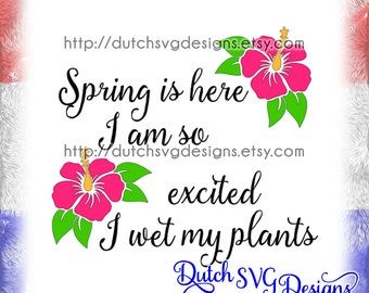 """Text cutting file """"Spring"""" in Jpg Png SVG EPS DXF, for Cricut & Silhouette, instant download, springtime flowers plants primavera Frühling"""