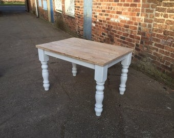 4 foot Scaffolding board farmhouse dining table with reclaimed wood top, rustic, pine, made to measure custom, restaurant shabby chic