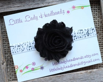 Music note headband - musical headband black music headband baby headband - infant toddler headband shabby flower