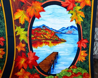 Fall Reflections, Fabric Panel, Fall Fabric Panel, Fall Scenery, by Exclusively Quilters, 60943